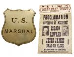 Jesse & Frank James Wanted Poster With Marshal's Badge